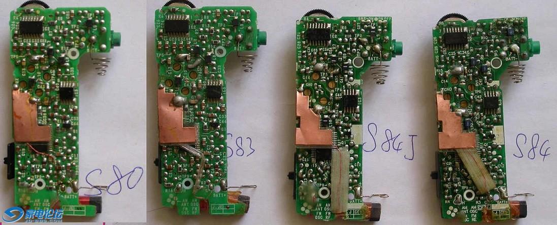 索尼收音机真品机芯对比:依次是srf-s80,srf-s83,srf-s84(日版),srf